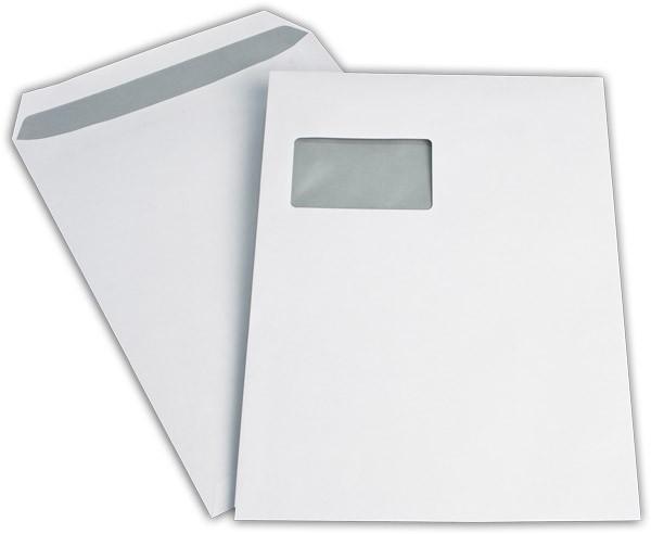 Versandtaschen m. F. Weiss innen Grau chlorfrei 229x324 mm C4 100g/qm
