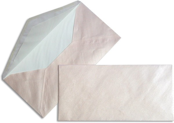 Pearls Briefhüllen nassklebend Seidenfutter Baby Pink Pearl 110x220 mm DL 90g/qm