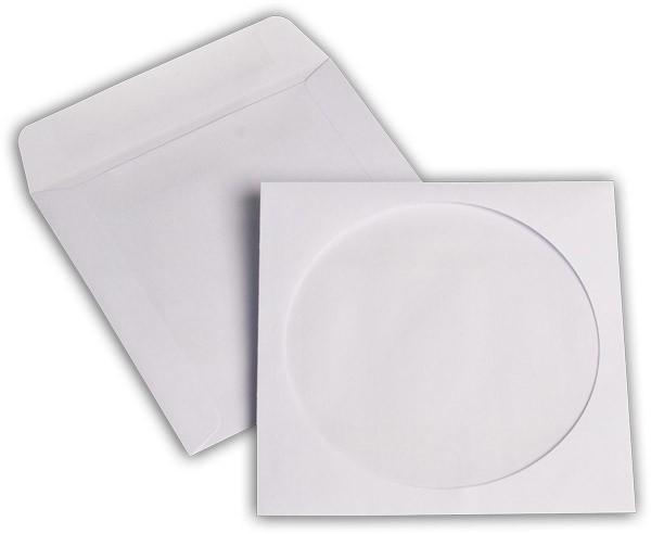 CD ROM Versandhüllen m. F. Weiss 124x124 mm chlorfrei 90g/qm