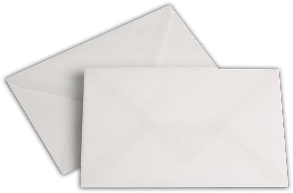 Briefumschläge transparent nassklebend o. F. Weiss 114x162 mm 92g/qm