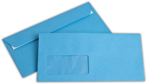 """Briefumschläge mit Haftstreifen """"Office Color"""" m. F. Intensivblau 114x229 mm C6/5 100g/qm"""