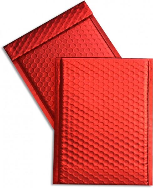 Metallic Bubble Bags Haftstreifen Rot matt Luftpolster 170x245 mm