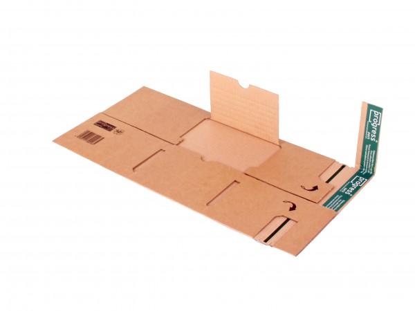Universal-Verpackung PREMIUM 376x270x -110 braun mit seitl. Schutzlaschen