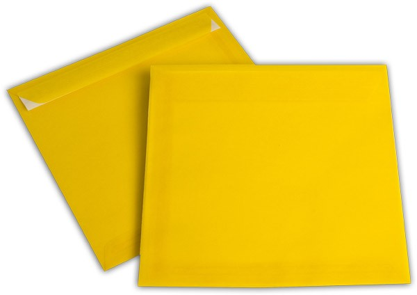 Briefumschläge transparent Haftstreifen o. F. Intensivgelb 220x220 mm 100g/qm