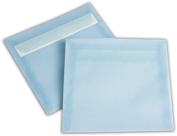 Briefumschläge transparent Haftstreifen o. F. Eisblau 170x170 mm 100g/qm