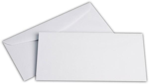 Kuvertierhüllen o. F. Weiss innen Grau ISK chlorfrei 114x229 mm C6/5 100g/qm