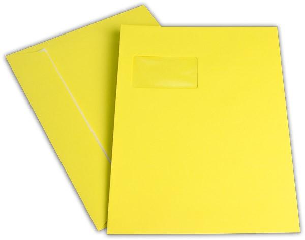 """Briefumschläge mit Haftstreifen """"Office Color"""" m. F. Intensivgelb 229x324 mm C4 120g/qm"""