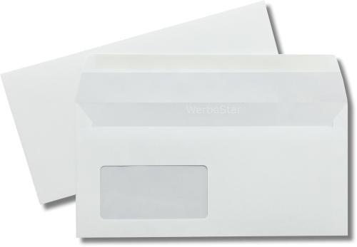 Kuvertierhüllen m. F. Rückseitenfenster Weiss innen Grau ASK chlorfrei 114x229 mm C6/5 80g/qm