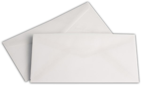Briefumschläge transparent nassklebend o. F. Weiss 110x220 mm DL 92g/qm