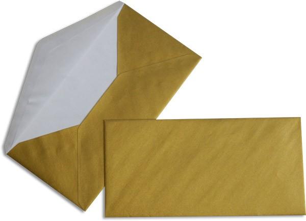 Pearls Briefhüllen nassklebend Seidenfutter Gold Pearl 110x220 mm DL 90g/qm