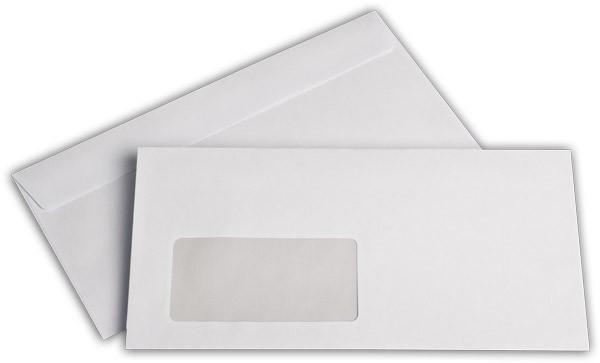 Briefumschläge Haftstreifen m. F. Weiss innen Grau chlorfrei 110x220 mm DL 80g/qm