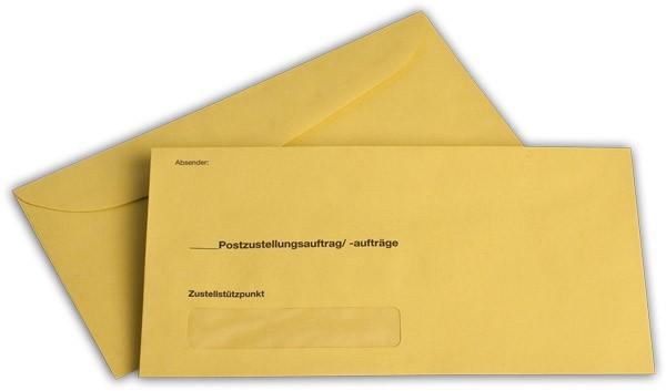 Äußere Zustellungshülle Gelb HKS4 m. F. nassklebend 120x235 mm