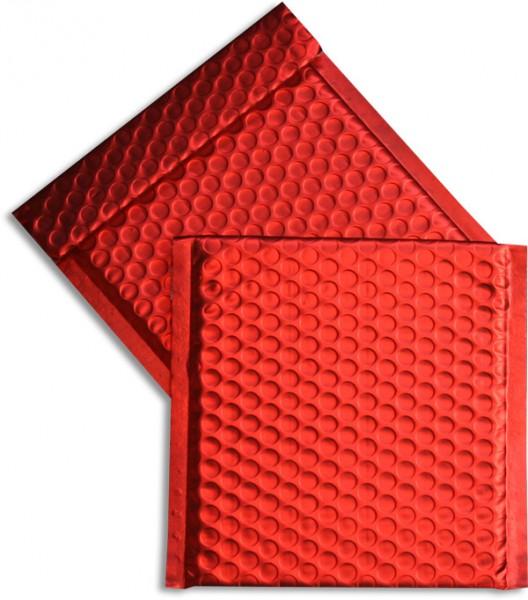 Metallic Bubble Bags Haftstreifen Rot matt Luftpolster 165x165 mm