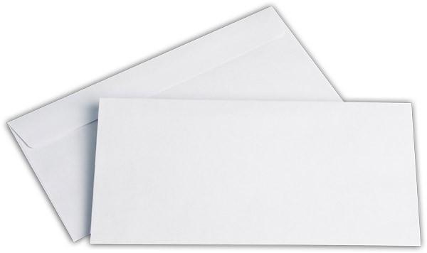 Briefumschläge Haftstreifen o. F. Weiss innen Grau chlorfrei 110x220 mm DL 80g/qm