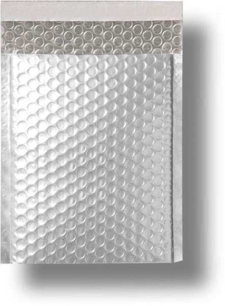 Metallic Bubble Bags Haftstreifen Silber matt Luftpolster 170x245 mm