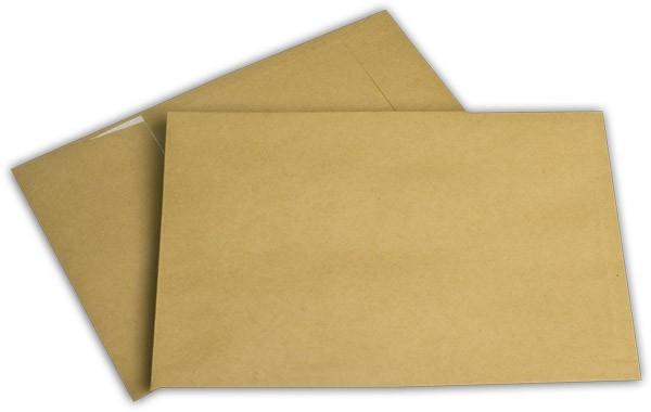 Faltentaschen mit Spitzboden Haftstreifen Braun Natron 176x250 mm Falte 20 mm B5 120g/qm