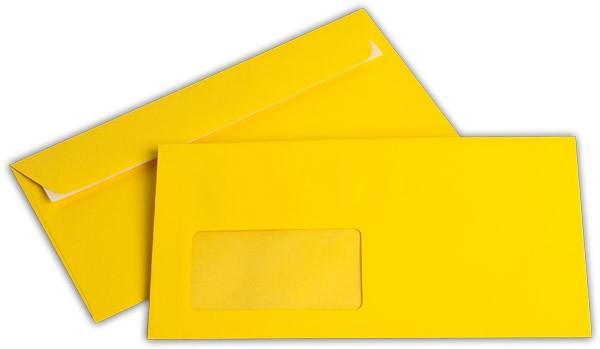 """Briefumschläge mit Haftstreifen """"Office Color"""" m. F. Goldgelb 114x229 mm C6/5 100g/qm"""