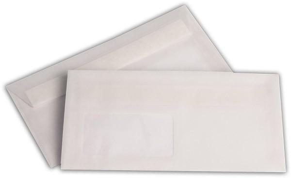 Briefumschläge transparent Haftstreifen m. F. Weiss 110x220 mm DL 100g/qm