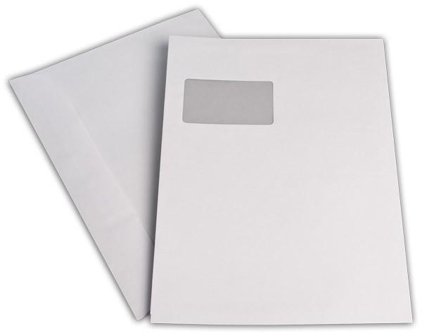 Kuvertierhüllen m. F. Weiss innen Grau chlorfrei 229x324 mm C4 120 g/qm