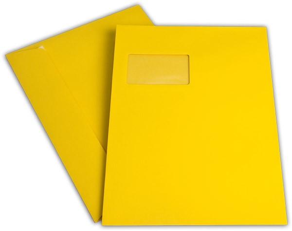 """Briefumschläge mit Haftstreifen """"Office Color"""" m. F. Goldgelb 229x324 mm C4 120g/qm"""