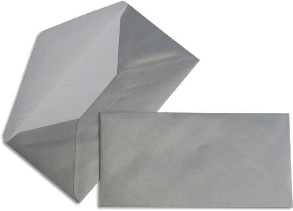Pearls Briefhüllen nassklebend Seidenfutter Platinium Pearl 110x220 mm DL 90g/qm