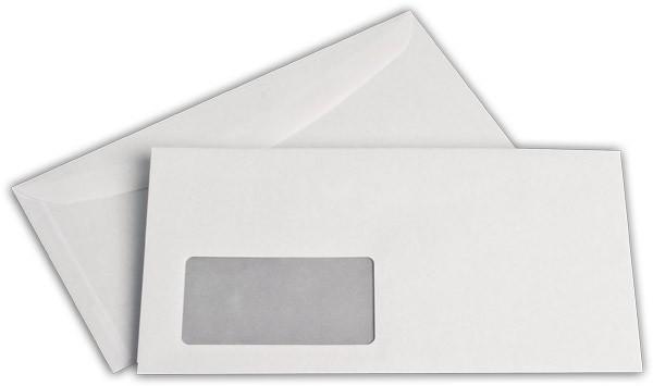 Kuvertierhüllen m. F. Weiss innen Grau chlorfrei 120x235 mm 80g/qm