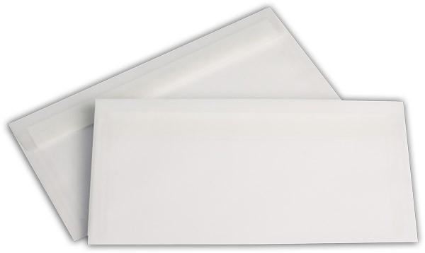 Briefumschläge transparent Haftstreifen o. F. Weiss 110x220 mm DL 100g/qm