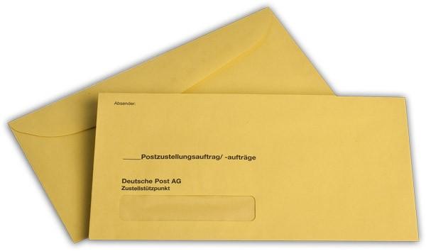 Äußere Zustellungshüllen Gelb HKS4 nassklebend m. F. 120x235 mm