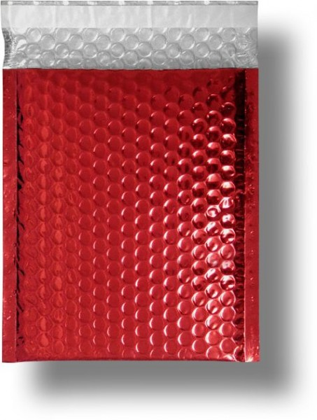 Metallic Bubble Bags Haftstreifen Rot glänzend Luftpolster 220x320 mm