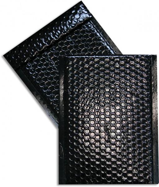 Metallic Bubble Bags Haftstreifen Schwarz glänzend Luftpolster 170x245 mm
