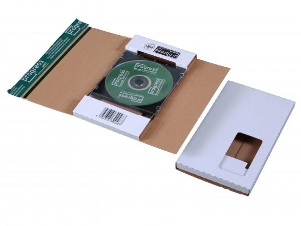 CD-JEWEL-MAILER DL 225x125x12 aus Wellpappe weiss mit Fenster