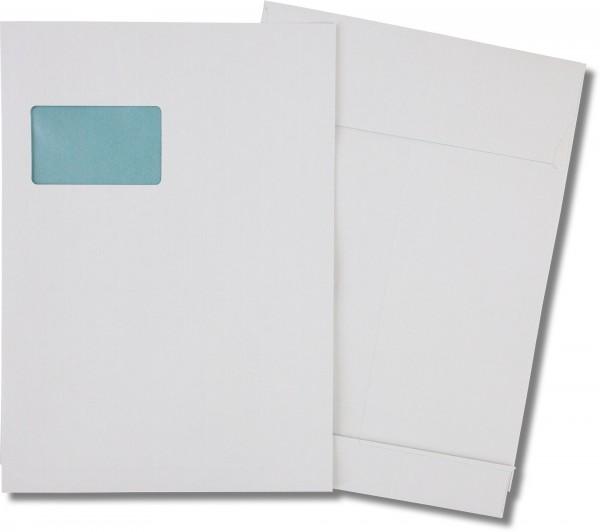 Faltentaschen m. F. Haftstreifen reißfest Weiss Ormypack 229x324 mm Falte 40 mm C4 135g/qm
