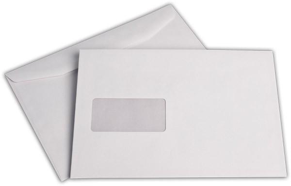 Kuvertierhüllen m. F. Weiss innen Grau Offset 176x250 mm B5 80g/qm