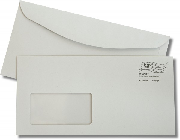 Kuvertierhüllen m. F. Grau mit Entgeltwelle 114x229 mm C6/5 80g/qm