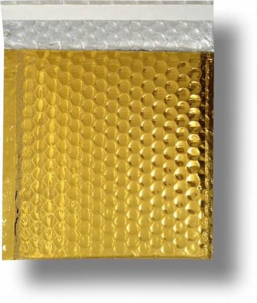 Metallic Bubble Bags Haftstreifen Gold glänzend Luftpolster 165x165 mm
