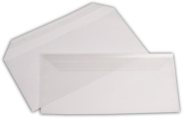 Polypropylen-Briefumschläge Haftstreifen kleine Breitseite transparent 110x220+30 mm DL 100my