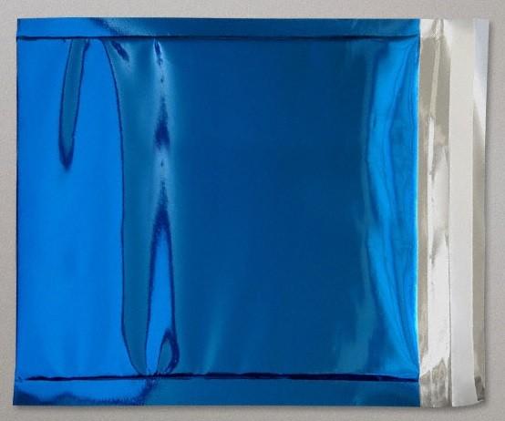 Folienversandtaschen quadratisch 220x220mm mit Haftklebung blau metallisch glänzend 70my