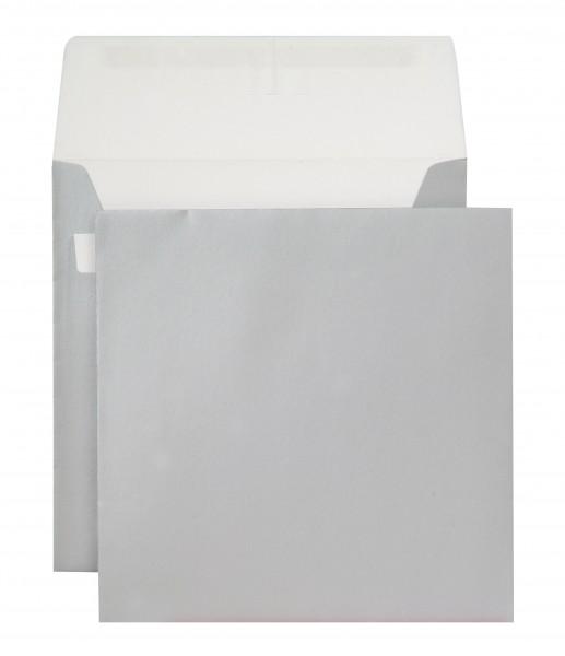 Briefumschläge Haftstreifen metallic o. F. Silber chlorfrei 160x160 mm 130g/qm