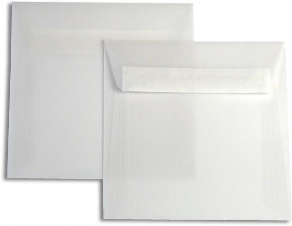 Briefumschläge transparent Haftstreifen o. F. Weiss 160x160 mm 102g/qm