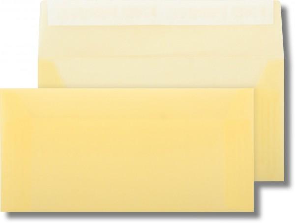 Briefumschläge transparent Haftstreifen o. F. Hellgelb 110x220 mm DL 110g/qm