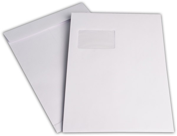 Faltentaschen mit Seiten- und Bodenfalte m. F. Weiss Offset 229x324 mm Falte 20 mm C4 120g/qm