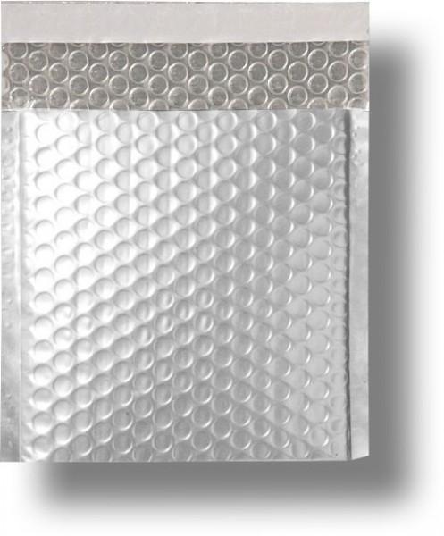 Metallic Bubble Bags Haftstreifen Silber matt Luftpolster 165x165 mm