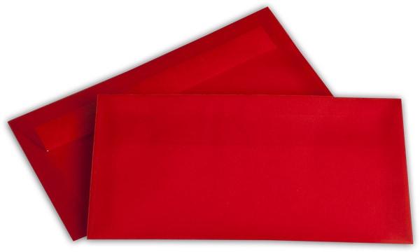 Briefumschläge transparent Haftstreifen o. F. Intensivrot 110x220 mm DL 100g/qm