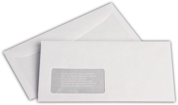 Kuvertierhüllen m. F. Weiss innen Grau chlorfrei 114x229 mm C6/5 80g/qm
