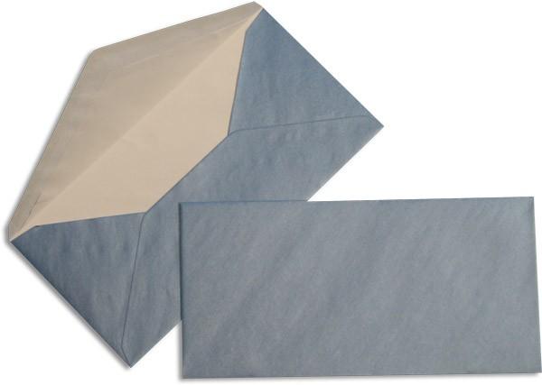 Pearls Briefhüllen nassklebend Seidenfutter Blau Pearl 110x220 mm DL 90g/qm