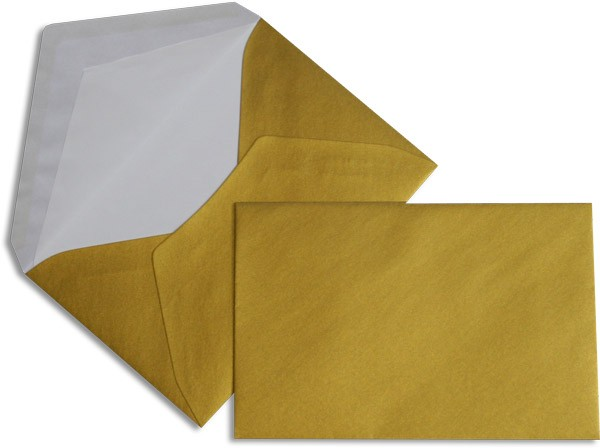 Pearls Briefhüllen nassklebend Seidenfutter Gold Pearl 120x180 mm 90g/qm