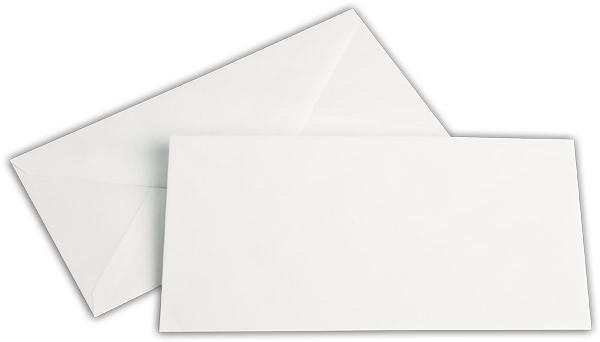 Briefumschläge nassklebend Seidenfutter Weiss chlorfrei Leinen 110x220 mm DL 100g/qm