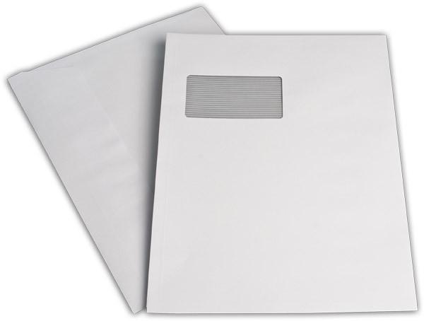 Elco Faltenhüllen Spitzboden und Haftstreifen m. F. Weiss Seitenfalte: 2cm FSC 229x324 mm C4 120 g