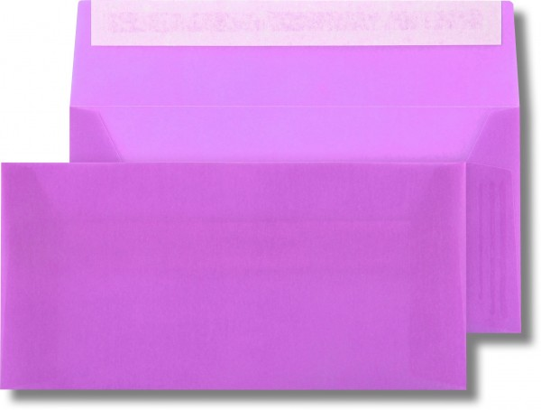 Briefumschläge transparent Haftstreifen o. F. Lila 110x220 mm DL 110g/qm