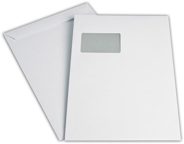 Versandtaschen Haftstreifen m. F. Weiss innen Grau chlorfrei 229x324 mm C4 120g/qm